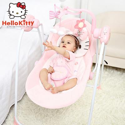 凯蒂猫 婴儿摇椅电动摇篮便携式睡篮 宝宝椅安抚摇摇床椅新生儿秋千躺椅多功能宜家哄娃神器