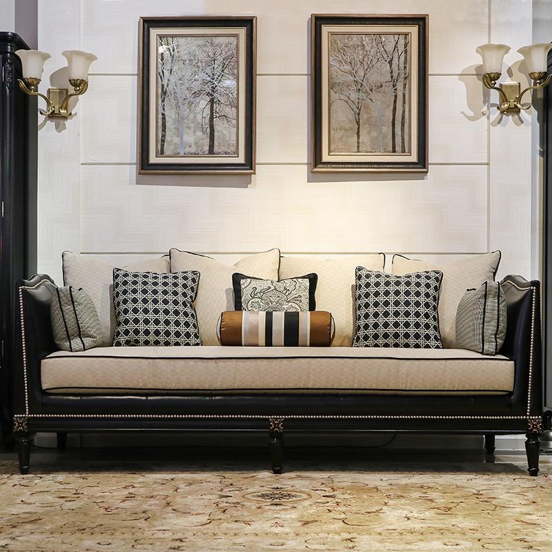 檀香丽舍 美式轻奢黑白色山核桃木俄罗斯红松头层牛皮沙发单椅北欧式图片