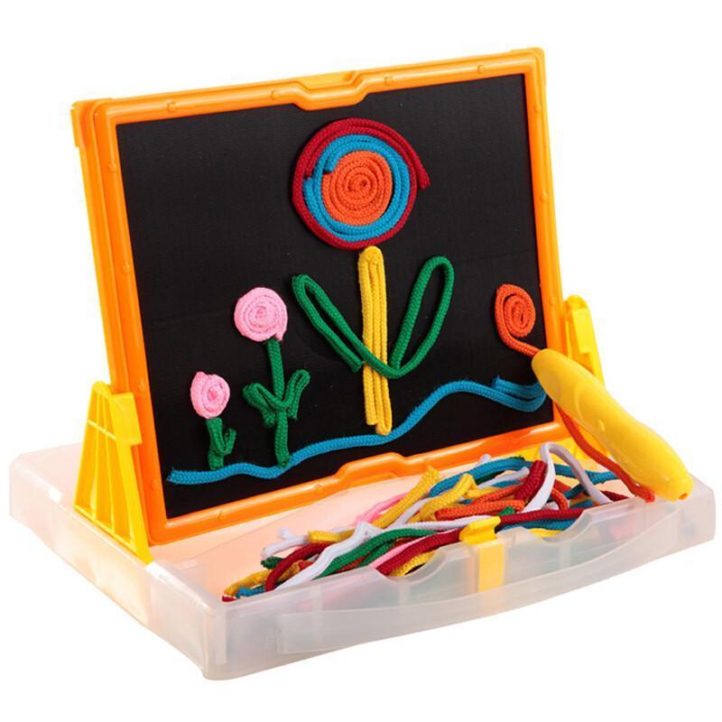 毛线画板拼图拼板美术课手工作业diy绘画玩具 毛线画板