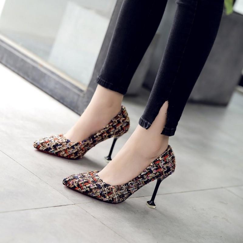 单鞋格纹高跟鞋女细跟秋季新款韩版百搭尖头猫跟中跟女鞋