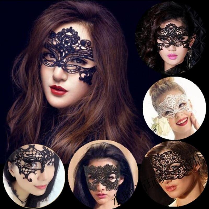 水时尚性感镂空蕾丝面具黑色女半脸万圣节派对化妆舞会公主情趣面具