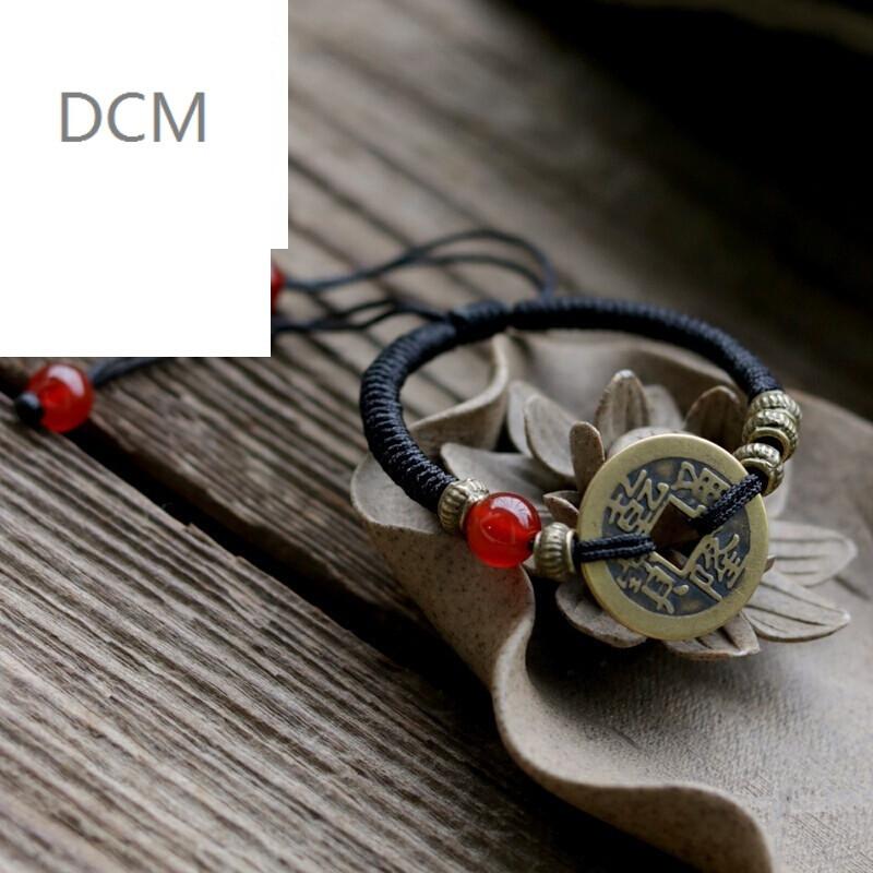dcm手工编制手链 手工穿织民族风手链本命年铜钱金刚结手绳 男女款