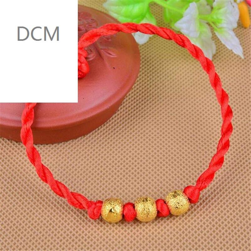 dcm金色珠子男女款手工编织红绳手链情侣红手绳