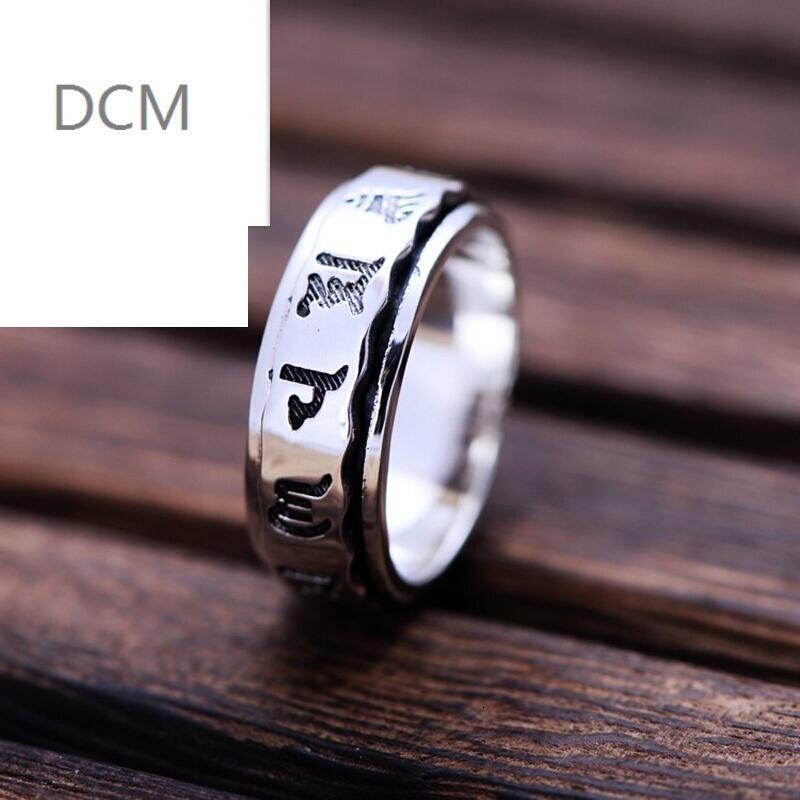 dcm925银饰品男女款六字真言戒指情侣款指环