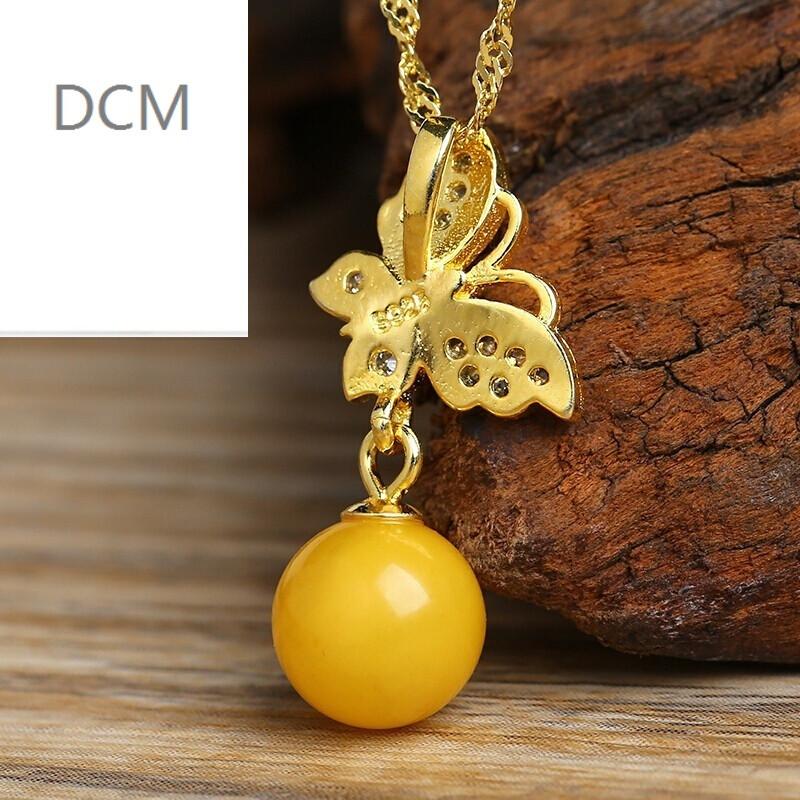 dcm925银镶嵌仿蜜蜡蝴蝶吊坠圆珠项链挂件女款项饰