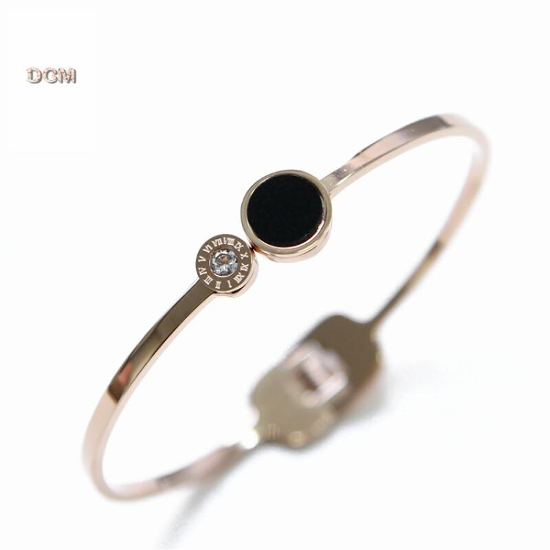 韩国韩版镀18k玫瑰金首饰品开口圆形钛钢手镯女黑色手环链彩金