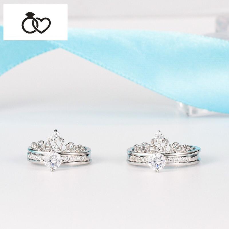 dcm 日韩双层组合皇冠仿真钻戒925纯银戒指女时尚王冠