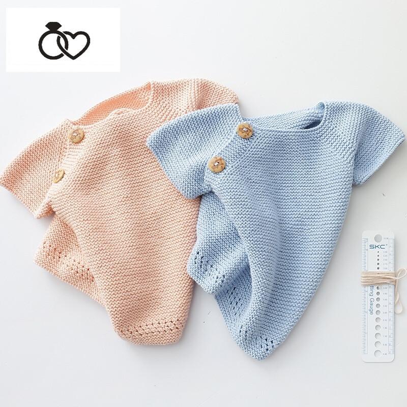 3岁宝宝手工短袖毛衣编织毛线iy材料包婴儿纯棉线视频教程diy手工编织