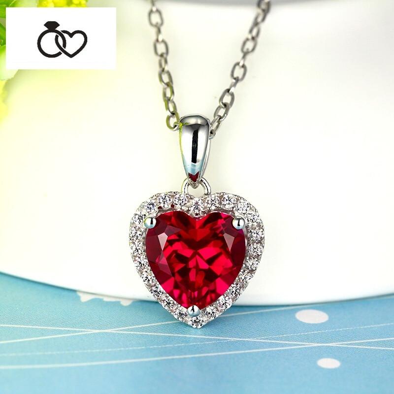 dcm 红宝石彩宝吊坠925纯银心形彩色宝石珠宝项链镶嵌