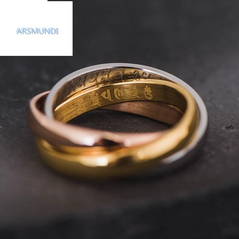 arsmundi楞严咒六字真言黄财神三色戒指情侣三咒合一钛钢指环平安转运