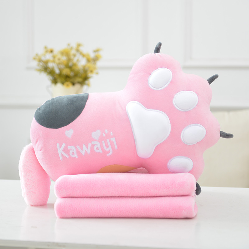 促销可爱熊掌猫卡通爪子抱枕被子两用靠垫儿童午休毯子生日礼物送女友