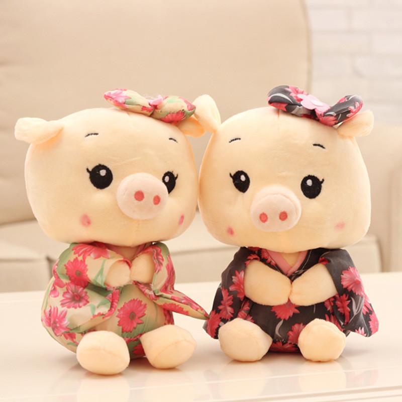 促销和服小猪猪公仔迷你萌萌哒玩偶毛绒玩具结婚大小号可爱抓机布娃娃