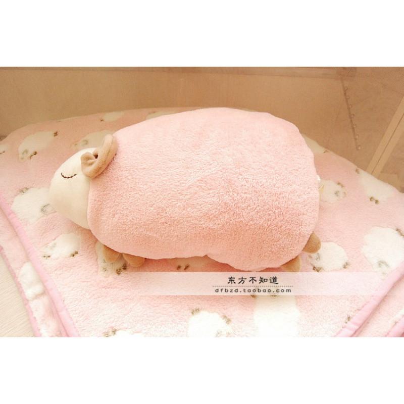 促销柔软可爱安睡羊小羊毛绒玩具睡觉抱枕宝宝毯珊瑚绒毯子空调毯盖毯