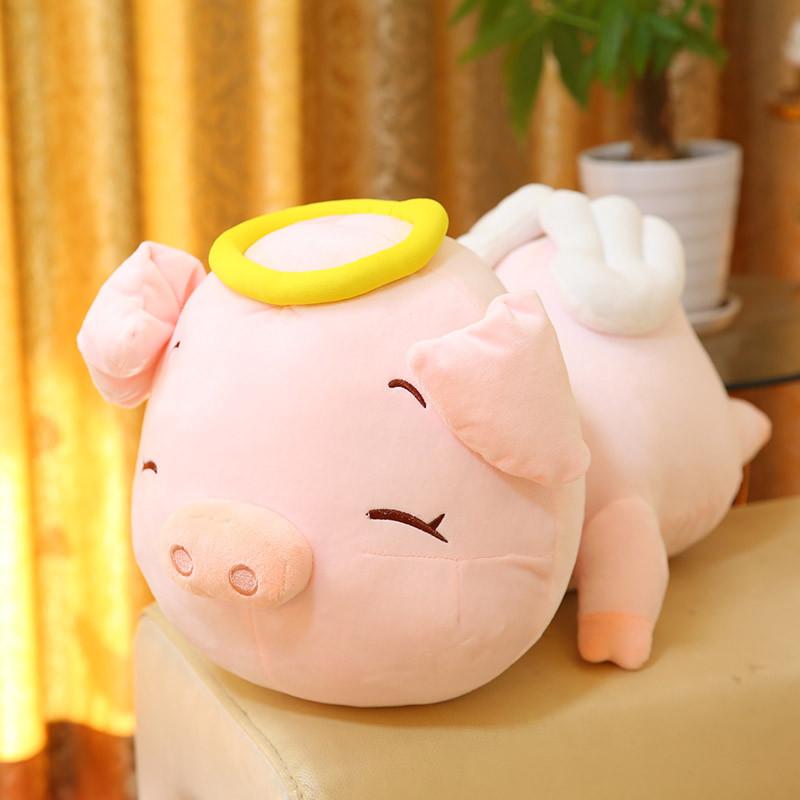 促销可爱卡通天使猪公仔毛绒玩具趴趴猪大号抱枕小猪猪布娃娃玩偶女生