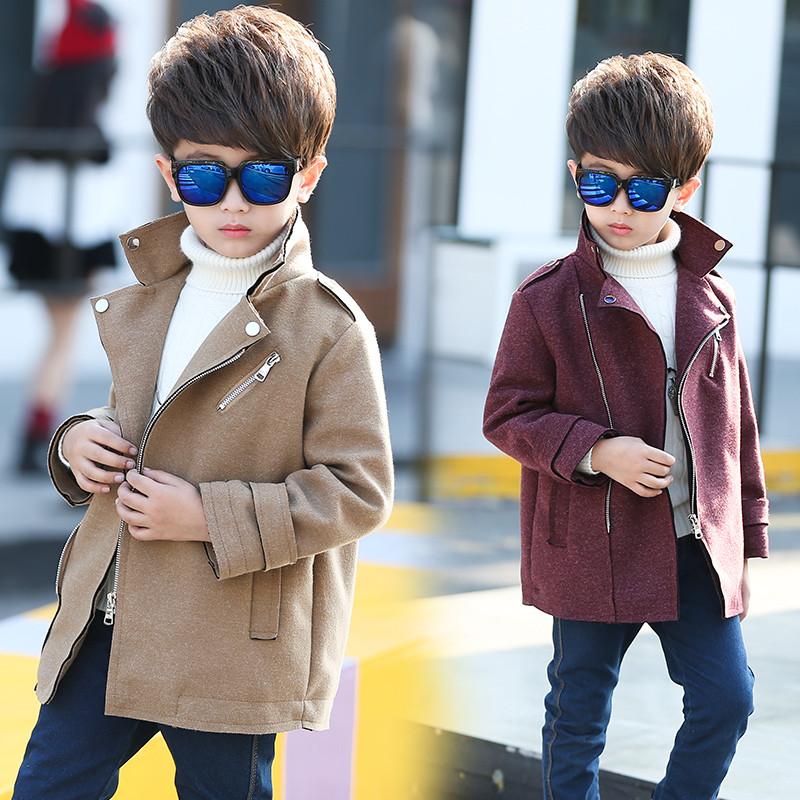 促銷天天特價童裝春秋韓版男童呢子風衣中大童外套男孩中長款毛呢大衣圖片