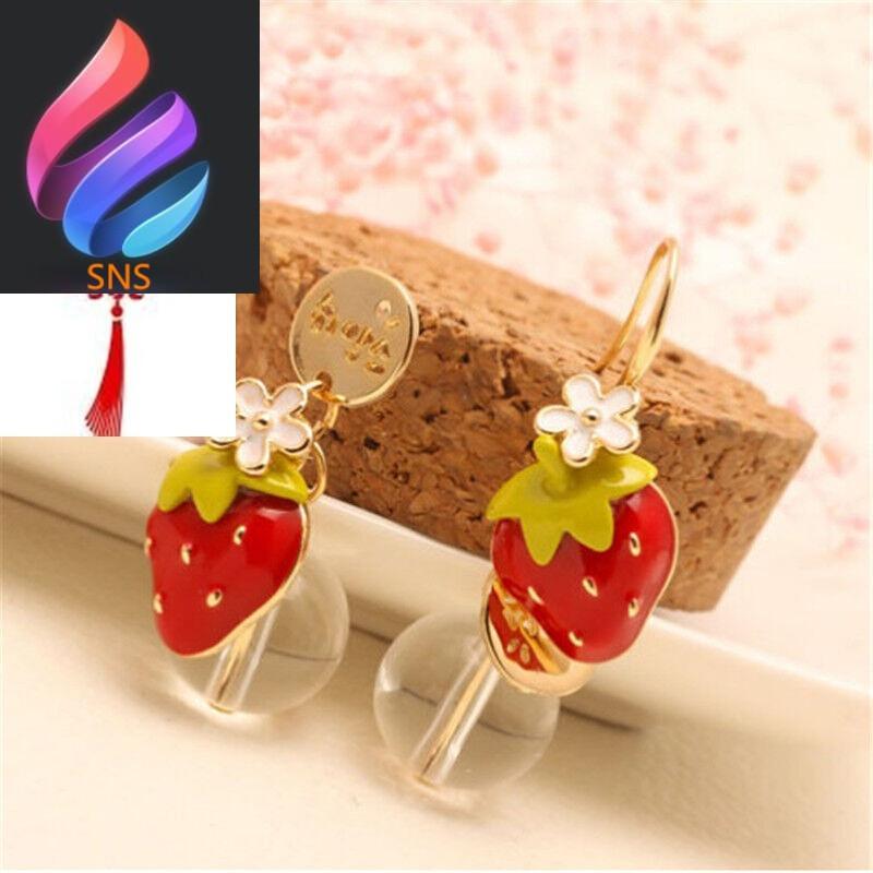 可爱耳环小草莓甜美耳饰款式2草莓红色