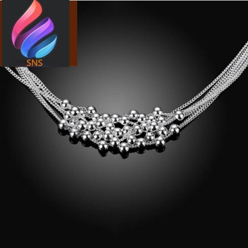 新品铜珠珠纯手工编织项链 简约6线 镀银配饰h1 图片色