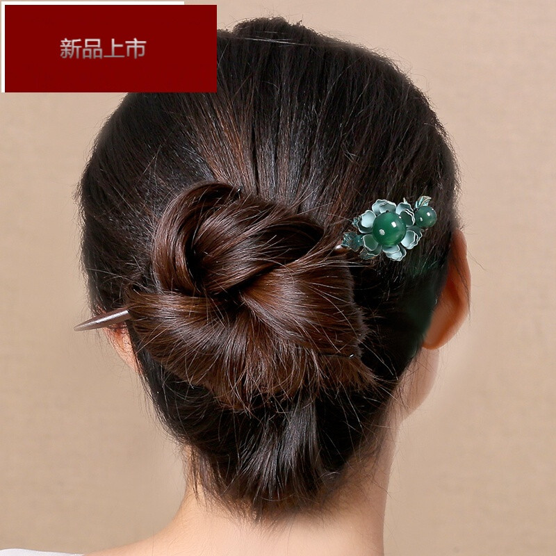 rimowa轻奢发簪头饰盘发簪子古典金属花朵绿玛瑙饰品宫廷民族风配饰