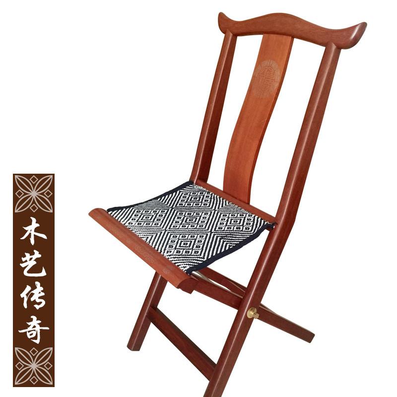 红木马扎便携凳子折叠实木靠背潍坊嵌银户外休闲钓鱼换鞋包邮礼品
