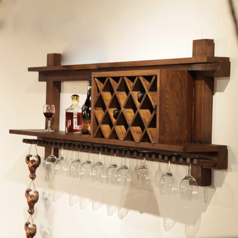 定制 欧式实木酒架壁挂红酒架餐厅壁挂式酒柜格子时尚