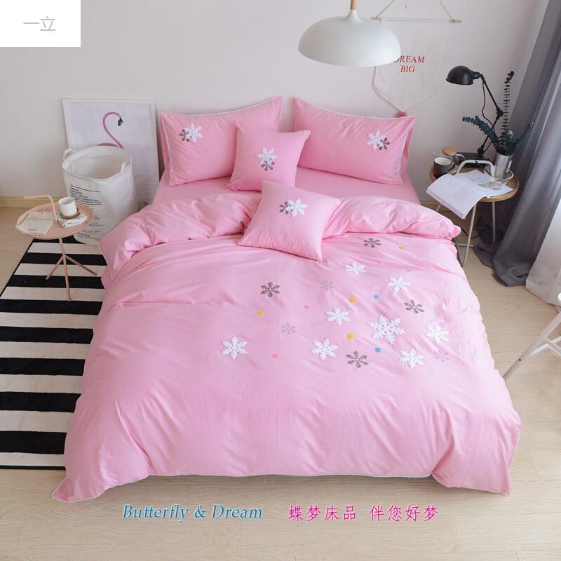 一立全棉绣花女孩床上用品四件套粉色少女荷叶边被套床单床笠刺绣1.图片