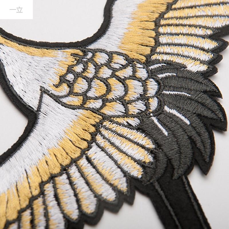 一立中国风图案刺绣丹顶鹤布贴大号衣服汉服装饰辅料补丁贴片背胶右边
