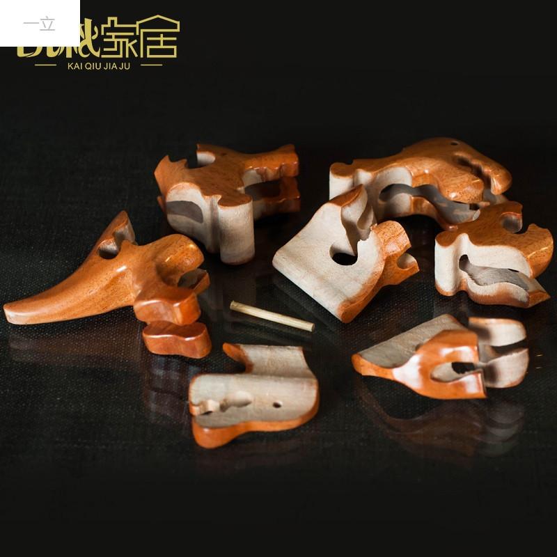 特价实木玩具十二生肖木摆件工艺品儿童玩具木质动物摆件拼图积木玩具