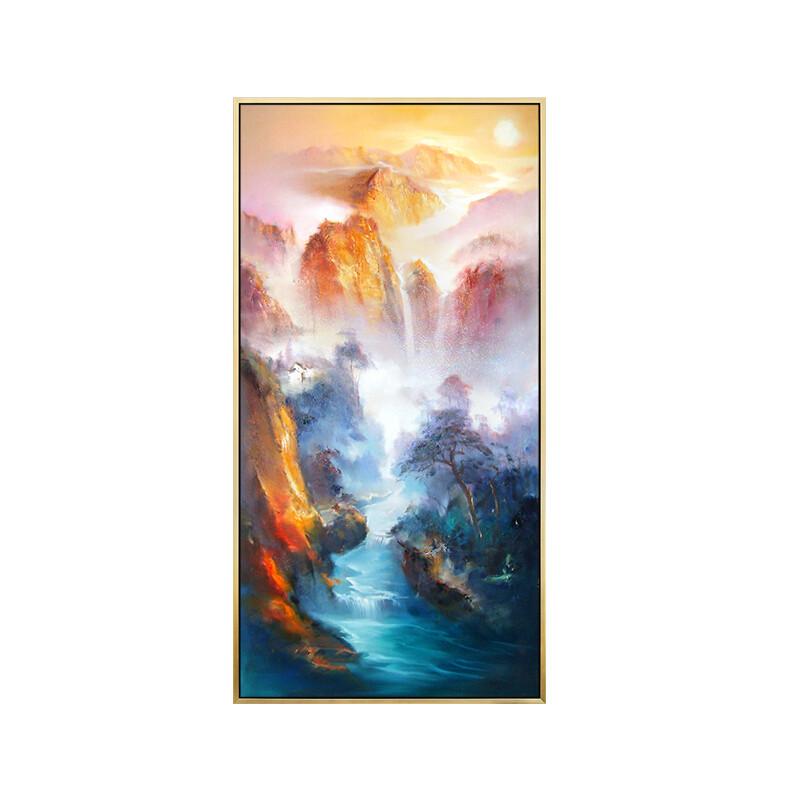 经典饰家现代简约竖幅装饰画玄关走廊抽象手绘油画风景山水挂画