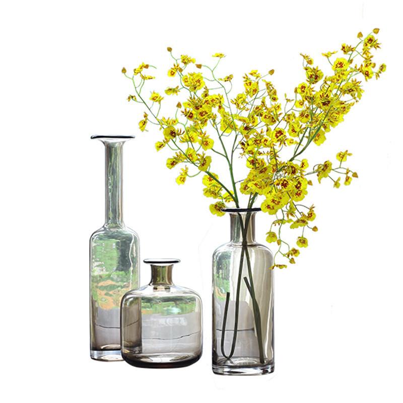 【】精品咖色长颈透明玻璃花瓶北欧餐桌花艺装饰品摆件图片