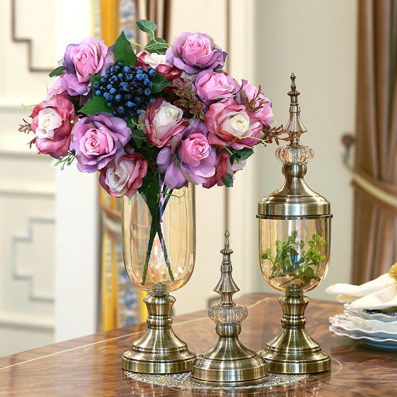 欧式水晶玻璃现代家居装饰品客厅电视柜装饰酒柜花瓶套装花艺摆件