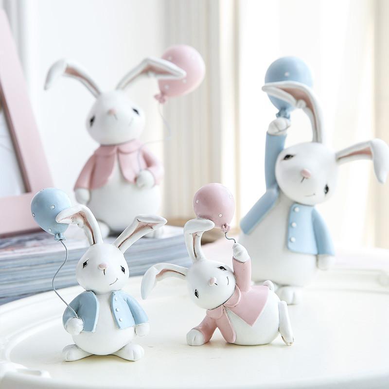 创意北欧可爱俏皮小兔子对装摆车载摆件q版公仔汽车用品