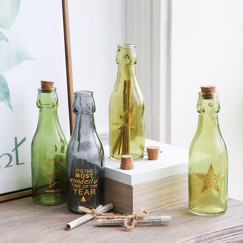 时尚创意文艺小清新玻璃瓶四件套装 居家精选摆件装饰图片