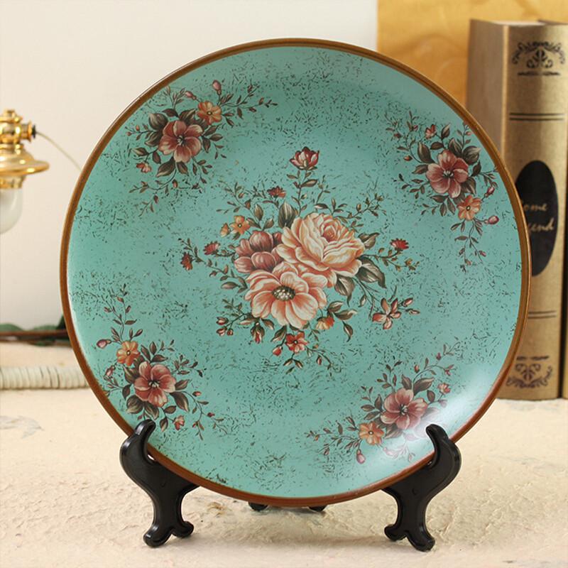 陶瓷装饰盘摆件欧式彩绘工艺家居饰品创意装饰盘子摆件