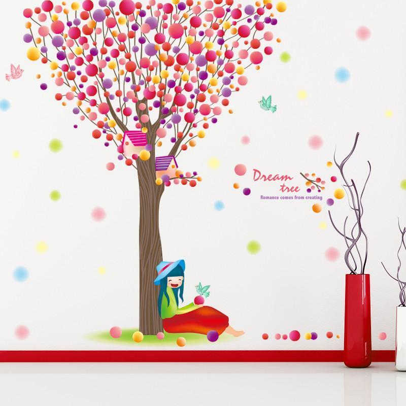 可移除墙贴纸贴画彩色圆圈大树树枝女孩卡通梦幻童话公主儿童房间