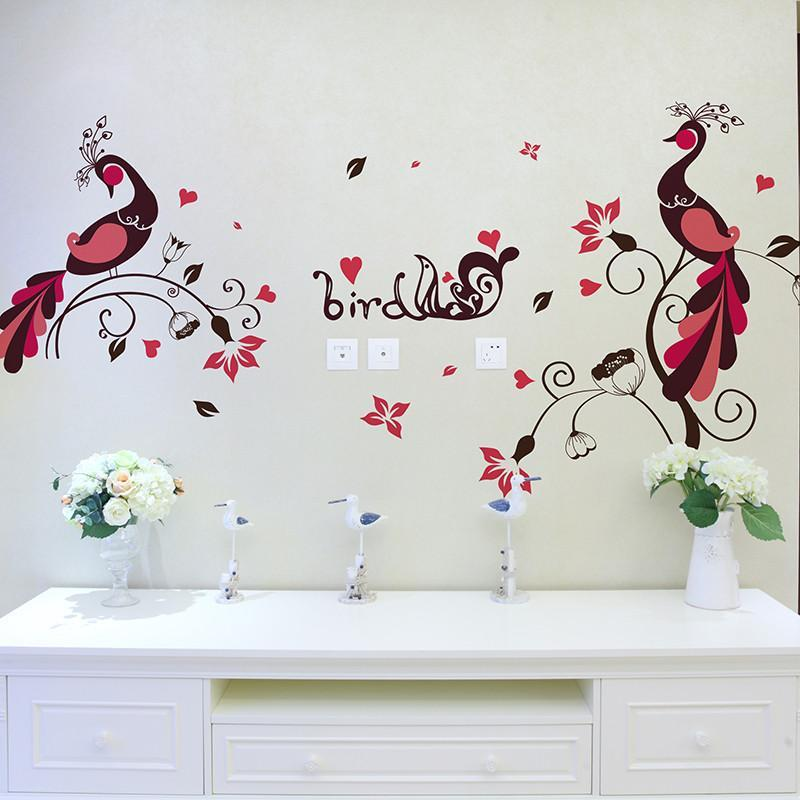 可移除墙贴纸贴画客厅书房教室卧室墙壁宿舍装饰布置彩色创意孔雀