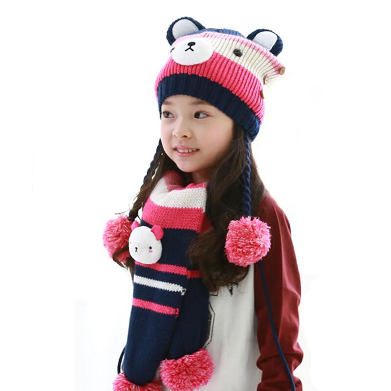 秋冬季宝宝帽子可爱小熊男女儿童帽子围巾手套三件套练习