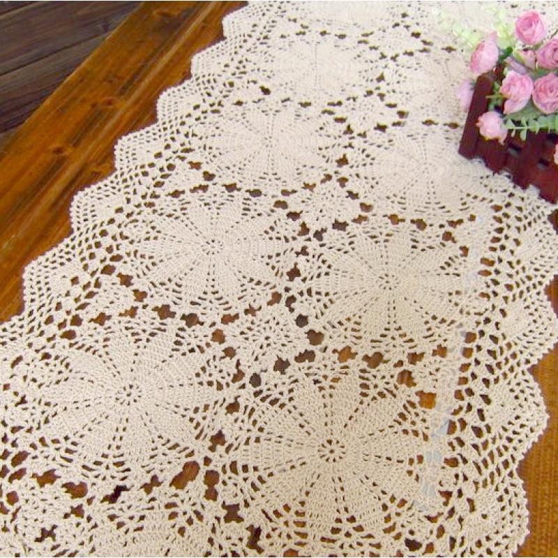 手工钩针欧式复古纯棉镂空钩花装饰柜子盖布巾 桌旗 白米色50cm宽