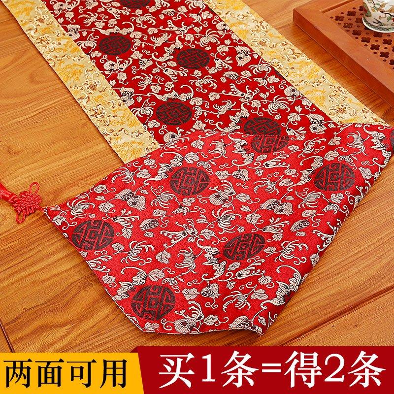 现代中式实木餐桌桌旗新古典禅意电视柜茶几旗中国风红木桌布布艺图片