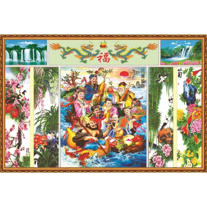 中国年画中堂画客厅挂画对联国画山水客厅装饰画油画布八仙过海