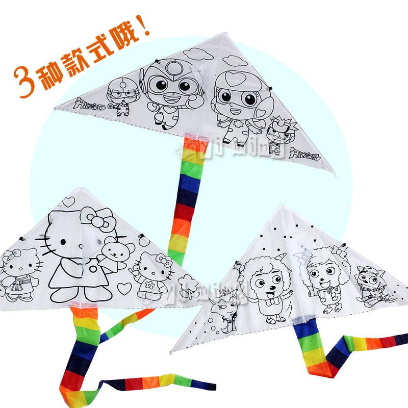 diy空白涂色三角风筝 手绘画亲子教学创意填色风筝 特价促销