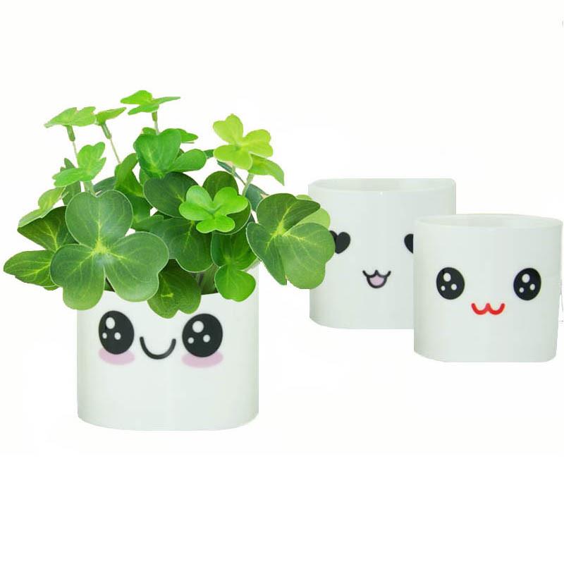 可爱表情包白陶瓷草头娃娃diy种植创意迷你植物微景观园艺小盆栽