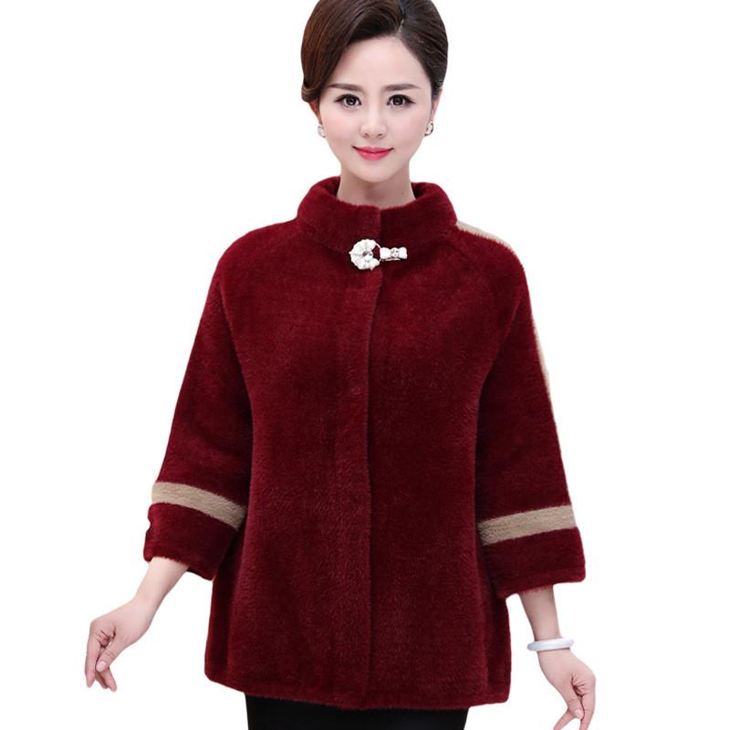 中老年女装韩版羊绒大衣短款皮草40岁50妈妈冬装貂绒毛衣外套加厚图片