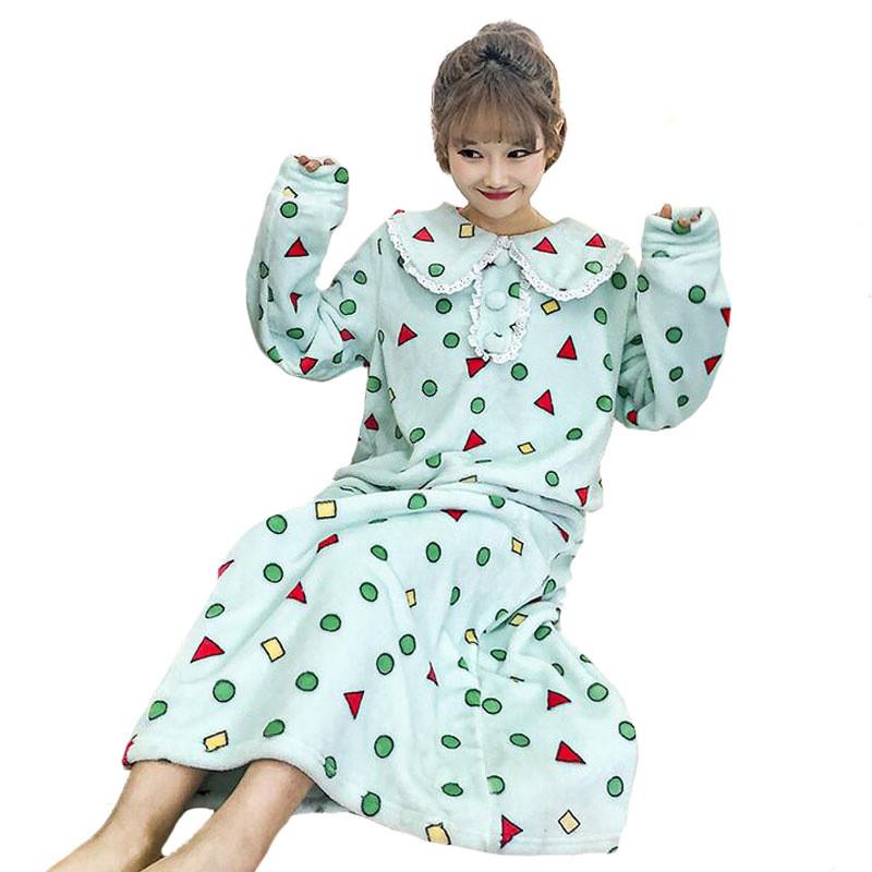 秋冬女装韩版小清新可爱娃娃领中长款长袖睡衣连衣裙学生长款睡裙