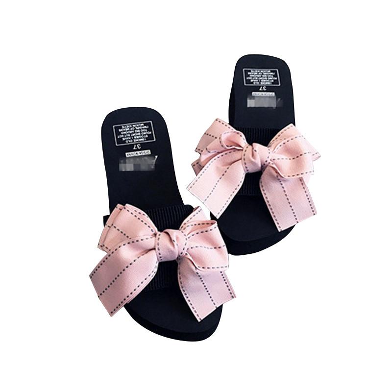 甜美大蝴蝶结可爱女士平底厚底沙滩凉鞋拖鞋