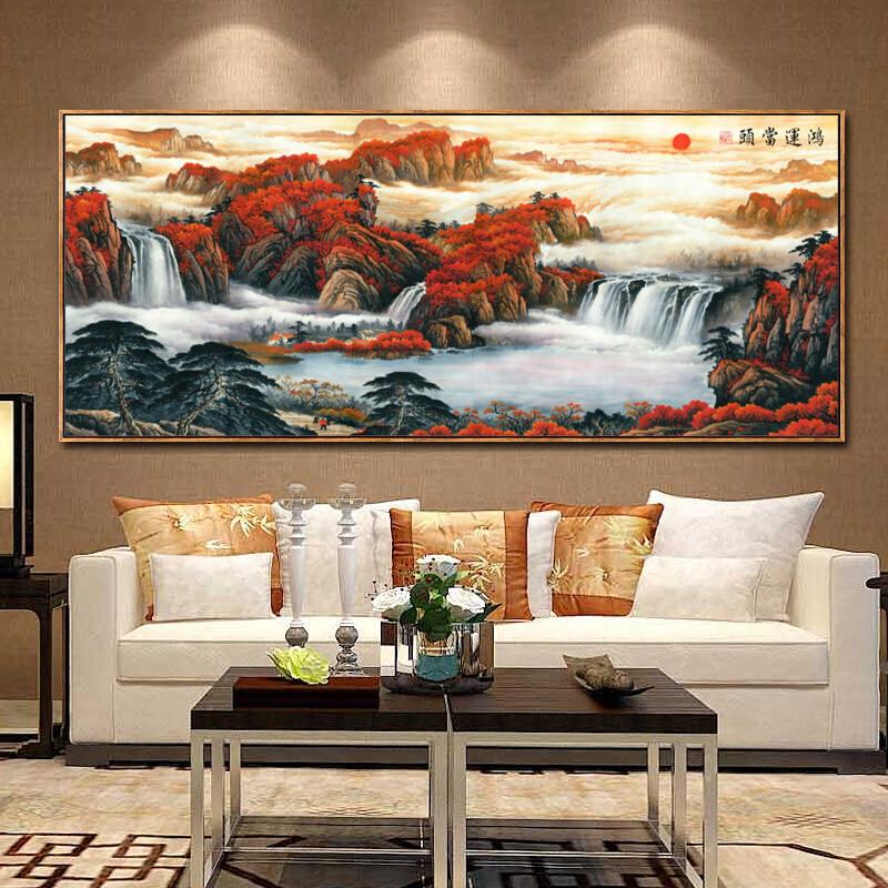 鸿运当头山水画风水靠山沙发背景墙办公室现代客厅装饰画挂画壁画