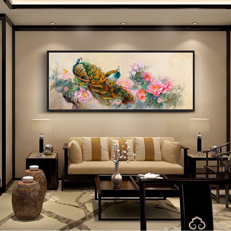 客厅沙发背景墙装饰风水招财山水画横款挂画壁画万里长城画靠山图