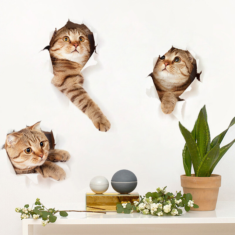 3d立体视觉可爱小猫贴画卧室寝室壁纸宿舍大学生墙贴创意装饰贴纸 三