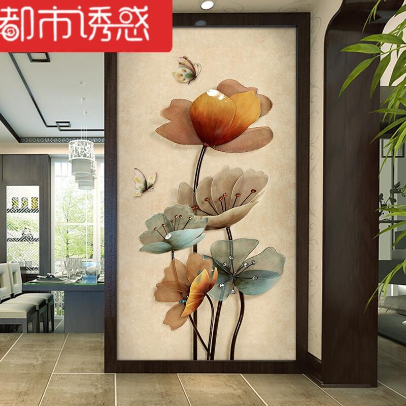 玄关背景墙3d墙纸走廊过道定制壁画现代简约中式壁纸蝴蝶荷花墙布无缝图片