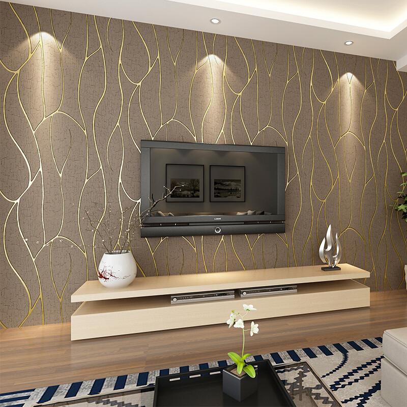 曲线条纹客厅电视背景墙壁纸现代简约卧室墙纸无纺布壁纸3d影视墙米白