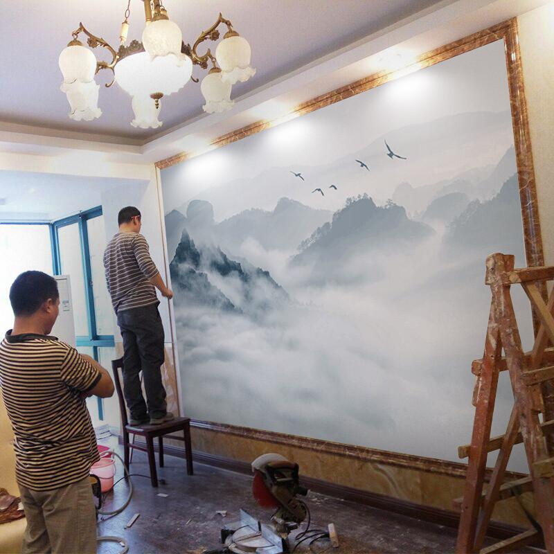 中式山水壁纸3d立体电视背景墙壁画8d客厅沙发墙纸5d影视墙墙布(无缝